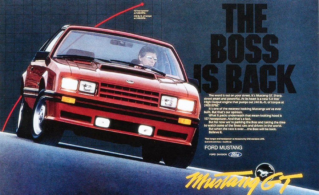 "82 Mustang GT ""Boss is back"" Ford Brochure Ad"