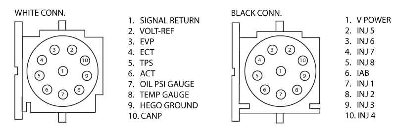 fox mustang - 10 pin connectors